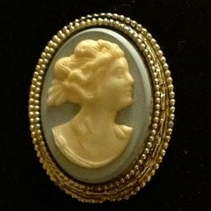 Vintage Wedgewood Blue Cameo Female Profile Pin